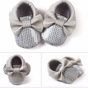 Baby Gray Sequin Moccasins